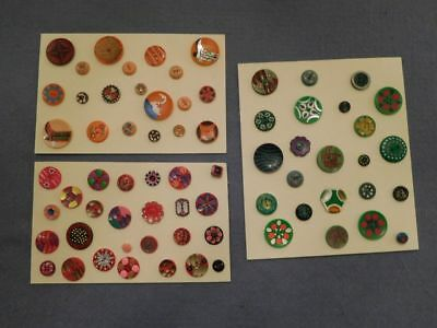 Lot of 68 Vintage Buttons 3 Display Cards Hand painted Red Orange Green