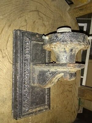 Antique Cast Iron Outdoor Porch Wall Sconce light gothic lamp brass socket VTG