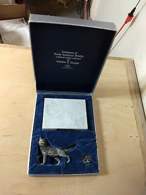 Gunther Granget Pewter Artic Fox Sculpture Wallace Silversmiths LE Original Box