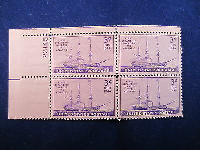 U.s.1944 Scott 923 Mnh F/vf Plate Block Of 4 Stamps - 3 Cent First Steamship