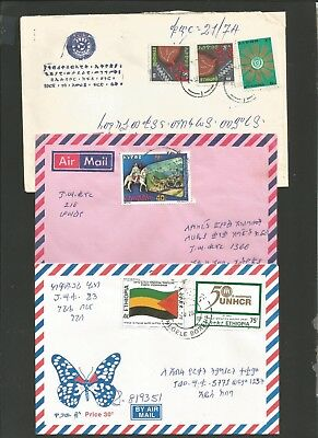 3 Ethiopia Attractive Airmail Covers