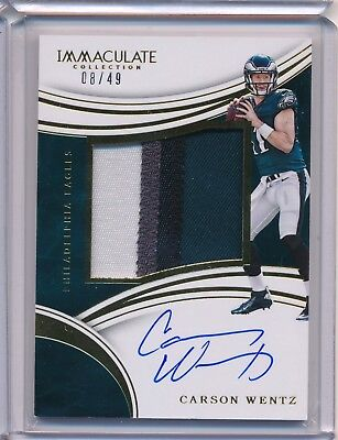 Carson Wentz Eagles Rookie RC AUTO 2016 Panini Immaculate Jersey Relic GOLD 8/49