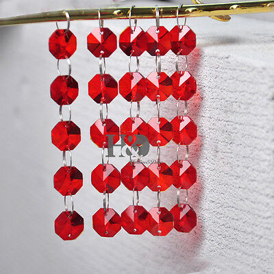 5Pcs 2 Holes Red 14MM Octagon Crystal Beads Chandelier Lamp Prism Ornament