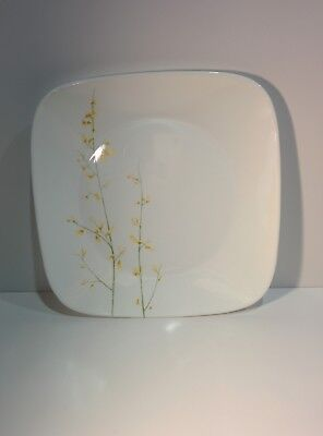 """Corelle Kobe Square Dinner Plate Yellow Green Floral 10 1/2"""" Discontinued single"""