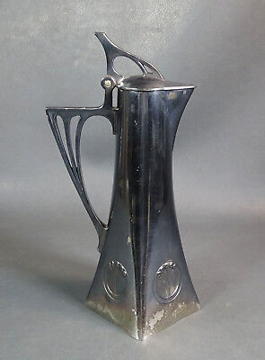 Antique German Art Nouveau WMF Albin Muller Silverplate Pitcher Claret Jug Ewer