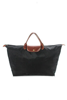 323a26f85001 Longchamp Paris Womens Leather Trim Large Le Pliage Tote Handbag Black Nylon