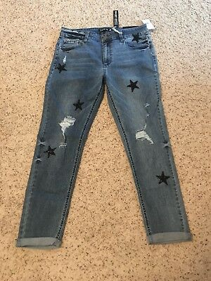 f457c70d91b1 NWT Lord   Taylor Design Lab Cropped Girlfriend Jeans sequin stars sz 30  69