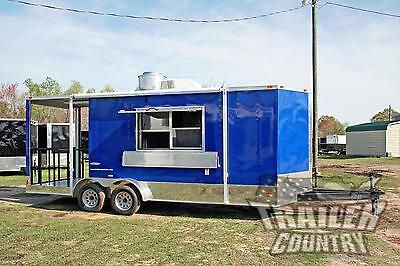 NEW 2019 7X20 Enclosed Mobile Kitchen Concession Food Vending BBQ Porch Trailer