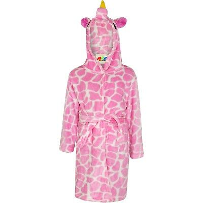 Kids Girls 3D Animal Giraffe Pink Bathrobe Fleece Night Dressing Gown 2-13 Years