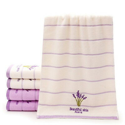 Soft Lavender Cotton Bath Towel Embroidery Shower Body Hand Face Towels