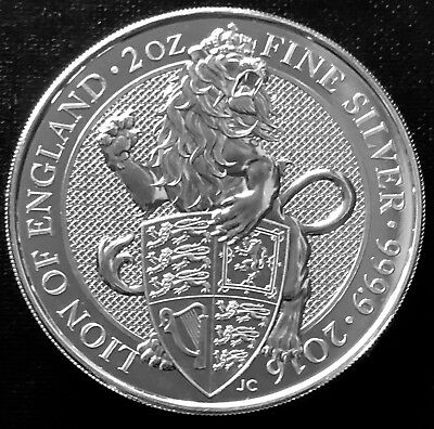 2016 Great Britain 2 Oz Silver Queen's Beasts The Lion - 1St Release In Series
