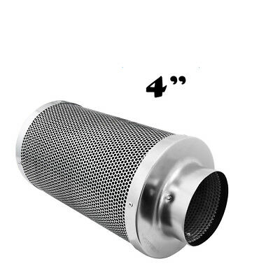 """4"""" Air Stainless Steel Filter Virgin Carbon Charcoal  Inline Fan  Scrubber Odor"""