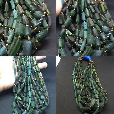 Wonderful 300 Bc Ancient Blue Encrusted Tubes Roman Glass 7 Strand Wholesale Lot