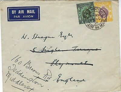 Hong Kong 1934 airmail cover to England, redirected on arrival