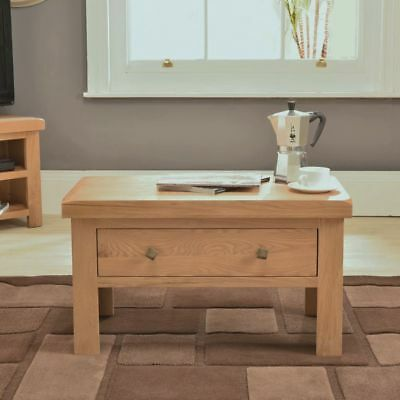 Chunky Solid Oak Furniture Storage Coffee Table With Drawer
