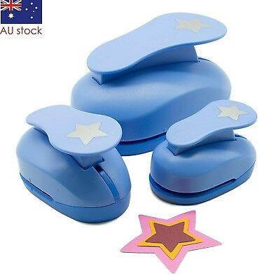 """Star paper punch set 3 pcs 1.5"""" 2"""" 3"""" craft punches scrapbooking card making"""