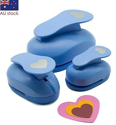 "Heart paper punch set 3 pcs 1.5"" 2"" 3"" craft punches scrapbooking card making"