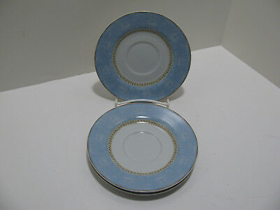"Heritage Mint ""Enchanted Garden"" Lattice Blue Saucers - Set of 3"