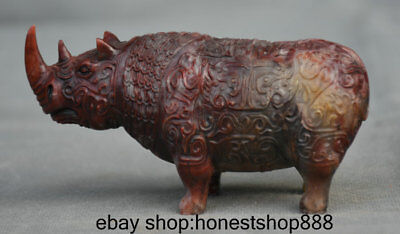 "4.6"" China Shoushan Stone Hand Carved Palace Rhinoceros Rhino Sculpture Statue"