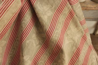Antique French ticking fabric 1890 red stripe woven damask upholstery material