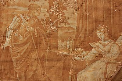 Antique French early 19th century quilted valance / drape amber toile Normandy