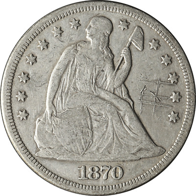1870 LIBERTY SEATED SILVER DOLLAR $1 very fine VF DETAIL