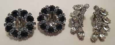 Lot of 2- Vintage- Weiss- Blue & Clear- Rhinestone- Cluster- Clip On Earrings