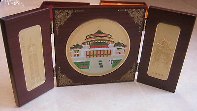 Chinese TRI-FOLD WOODEN DISPLAY PLAQUE - Chongqing, China - Gold plated inlays