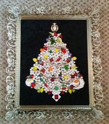 Vintage Ooak Framed Costume Jewelry Christmas Tree Handmade Art