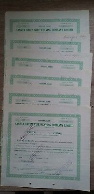 Share certificates. 6 Sankey Green wire weaving company limited. 1956.