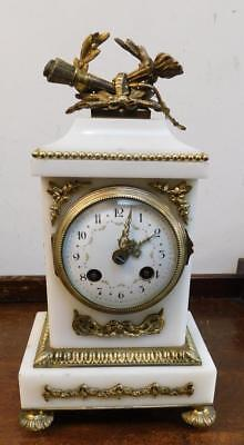 french white marble ormolou striking mantel clock
