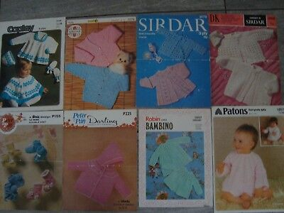 Job Lot/ Bundle Two of 8 Vintage Baby Crochet Patterns