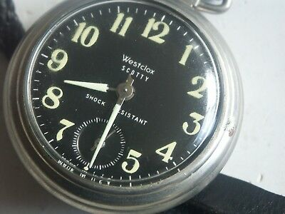 Westclox  Scotty Pocket  Watch/ With Leather Belt Fastener Nice Black Dial Runs