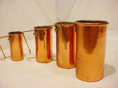 4 Vtg Copper Tall Measuring Cups brass handle Nesting Stacking 1/4 1/2 3/4 1 Cup