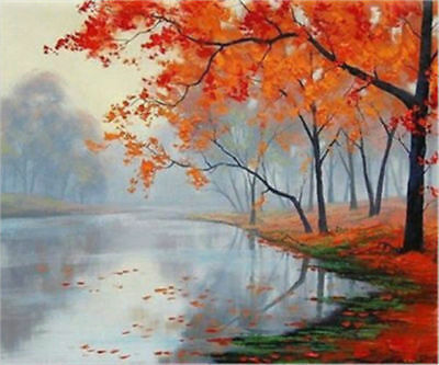 CULOP706 hand painted charm village landscape river tree oil painting art canvas