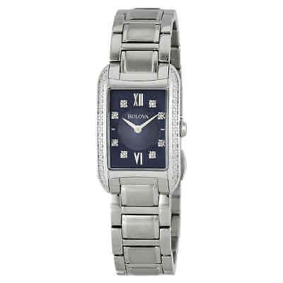 Bulova Diamond Blue Dial Stainless Steel Ladies Watch 96R211