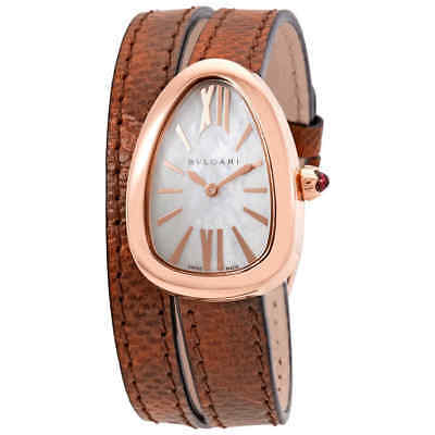 abd85726f8d79 Bvlgari Serpenti White Mother of Pearl Dial Ladies Double Spiral Leather  Watch