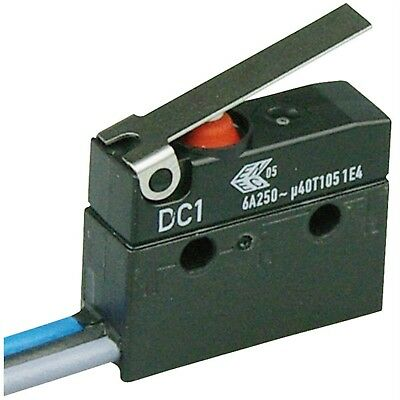 ZF DC1C-C3LB Microswitch SPDT 6A 250V AC, Short Lever, Leads, IP67