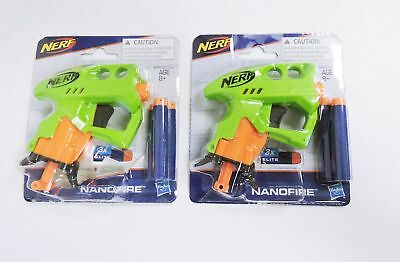 Lot of 2 Nerf N-Strike NanoFire Dart Gun -Green
