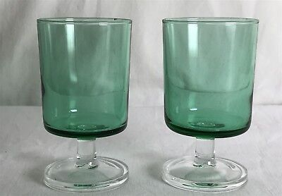 Vintage Pair of Matching Pale Green Glasses on Clear Glass Bases Made in France