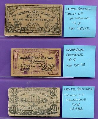 PHILIPPINES ~ 3 DIFFERENT EMERGENCY ISSUE WWII SMALL SIZE NOTES ~ 5c, 10c & 20c