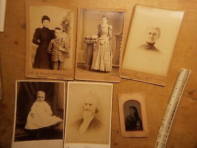 OLD Cabinet Card PhotoS LOT #3 WITH ONE TIN TYPE