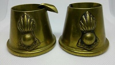 2 Antique/Vintage WWI TRENCH ART BRASS ASHTRAY With UBIQUE BADGE