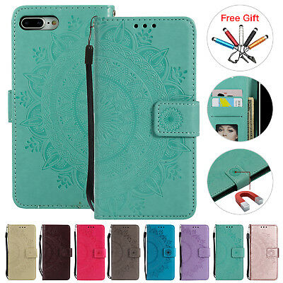 For iPhone 7 8 Plus Flower Magnetic Leather Case Wallet Card Holder Stand Cover