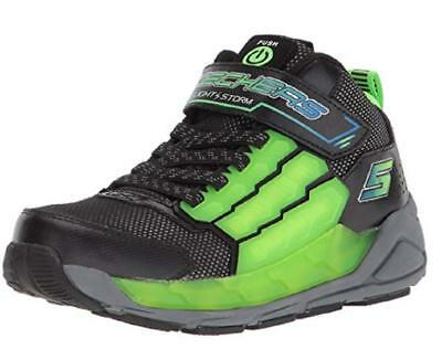 e8b5f555284a Boys Youth SKECHERS LIGHT STORM Green+Black Light Up Sneakers 90710 NEW