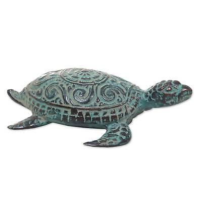 Bronze Green Turtle Floral Handmade Balinese Antique=Style Statuette NOVICA Bali