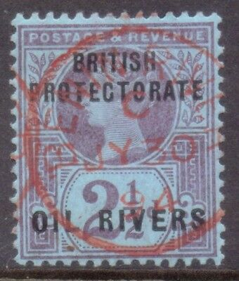 "NIGERIA OIL RIVERS PROTECTORATE  POSTMARK / CANCEL  ""BENIN RIVER""  1894  in red"
