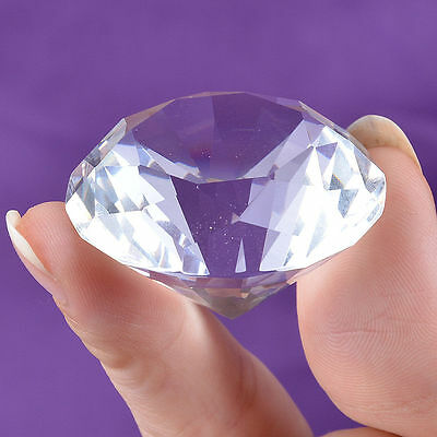 Crystal Diamond Shape Paperweight Glass Display Wedding Ornament Gift 30mm #)*