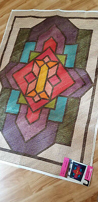 Vintage SPINNERIN Stamped Rug Canvas STAINED GLASS Window 34x48  #204 NEW