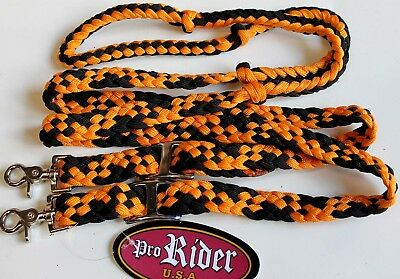 Roping Knotted Horse Tack Western Barrel Reins Nylon Braided Orange Black 607466